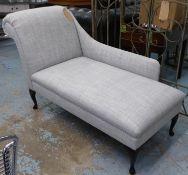 CHAISE LONGUE, grey fabric upholstered, ebonised supports, 160cm x 64cm x 85cm.