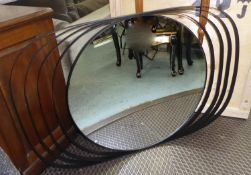 WALL MIRROR, 1960's inspired, with radiating frame, 80cm x 122cm.