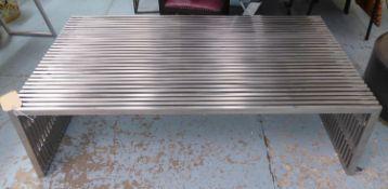 LOW TABLE, contemporary design, metal and perspex, 140cm x 80cm x 39.5cm.