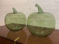 OVERSIZED GLASS APPLES, a pair, Murano style hand blown glass, approx 35cm H x 29cm. (2)
