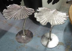 GINGKO LEAF SIDE TABLES, a pair, 1970s Italian style, polished metal, 54cm H. (2)