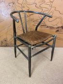AFTER HANS J WEGNER WISHBONE STYLE DESK CHAIR, vintage steel framed with stitched brown leather seat