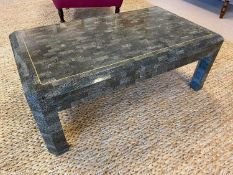 MAITLAND SMITH ATTRIBUTED LOW TABLE, 1980's tessellated stone and brass inlaid, 42cm H x 115cm x