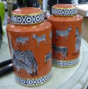 GINGER JARS, a pair, zebra design, 31cm H. (2)
