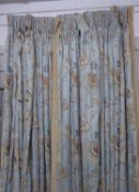 CURTAINS, two pairs, lined and interlined, the blue field with embroidered detail and tan velvet