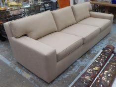 SOFA, contemporary design brown fabric upholstered, ebonised feet, 270cm x 112cm x 82cm.