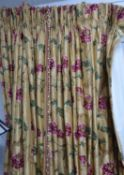CURTAINS, a pair, lined and interlined, the gold silk field with embroidered floral and butterfly