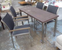 WESTMINSTER GARDEN DINING SET, including table and four chairs, table 150cm x 60cm x 74.5cm. (4) (