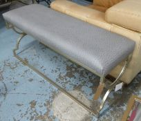 WINDOW SEAT, upholstered in a faux ostrich leather, to match previous lot, 120cm x 41cm x 54cm.