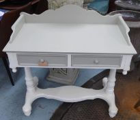 VANITY TABLE, grey and white painted, galleried back, 54cm x 93cm x 93cm.