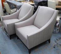 ARMCHAIRS, a pair, contemporary grey fabric with faux snake skin exterior, 72cm x 82cm x 90cm. (2)