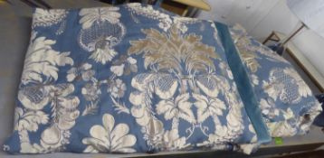 CURTAINS, two pairs, lined and interlined, blue patterned fabric with blue velvet leading edge,