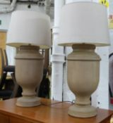 TABLE LAMPS, a pair, turned wood, with shades, 72cm H. (2) (slight faults)