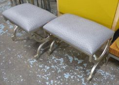 SIDE STOOLS, a pair, upholstered in a faux ostrich leather, 53cm x 35cm x 43cm. (2)