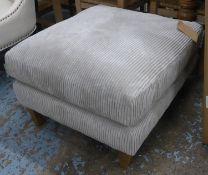OTTOMAN, contemporary grey corduroy upholstered, 70cm x 80cm x 50cm.
