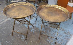 SIDE TABLES, a pair, antiqued champagne, gold finish, 66cm x 66cm Diam. (2)