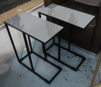 SIDE TABLES, a pair, grey enamelled tops on painted black metal supports, 43cm x 20cm x 51.5cm.