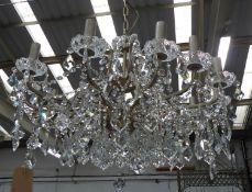 CHANDELIER, cut glass crystal, gilt metal frame, 12 branch, 125cm drop approx.
