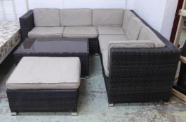 GARDEN CORNER SOFA AND ASSOCIATED DRINKS TABLE , contemporary with cushions, 204cm x 202cm x