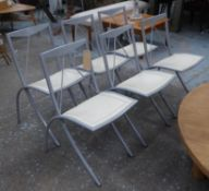CATTELAN ITALIA DINING CHAIRS, collapsable metal frames with stitched cream leather seats, 80cm H