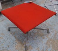 AFTER CHARLES AND RAY EAMES ALUMINIUM GROUP STYLE STOOL, 39cm H. (with faults)