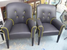 ARMCHAIRS, a pair, grey leather with yellow piping and a contrasting black velvet back, 68cm W x