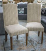 IJL BROWN KEW DINING CHAIRS, a set of eight, with ash legs and patterned cream upholstery, 111cm