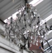 CHANDELIER, contemporary, ten branch, cut crystal detail on antiqued metal frame, 85cm H minus chain