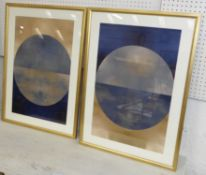 CONTEMPORARY SCHOOL UNTITLED DIPTYCH, framed and glazed, 73cm x 53cm. (2)