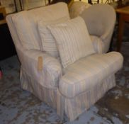 HOWARD STYLE ARMCHAIR, striped loose fabric cover with two scatter cushions, 82cm W.
