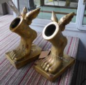 THE FEET OF HERMES, contemporary school vessels, a pair, 34cm H. (2)