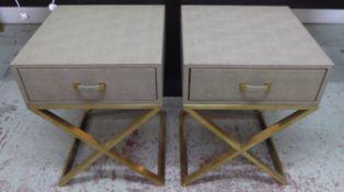 SIDE TABLES, a pair, faux shagreen, 50cm x 51cm x 68cm. (2)