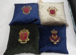 CUSHIONS, a set of four, with embroidered armorial crests, various colours, 44cm x 44cm. (4)