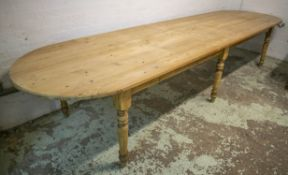 FARMHOUSE TABLE, Victorian style pine with rounded rectangular top (patches to top), 79cm H x 109.