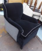 ARMCHAIR, with black velvet upholstery and a contrasting Houndstooth back and sides, 71cm W x 99cm