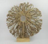 NATURAL WOOD SCULPTURE, together with a table candelabra, 62cm H sculptue, 70cm L candelabra. (2)