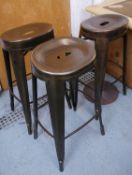 BAR STOOLS, a set of three, 1920's French style metal, 80cm H. (3)