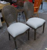 DINING CHAIRS, a set of six, French style with wicker back detail, neutral upholstery, 97cm H. (6)