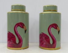 FLAMINGO JARS, a pair, with covers, 1950's Italian style, 41cm H. (2)