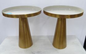 SIDE TABLES, a pair, contemporary gilt metal with enameled tops, 50cm x 45cm diam. (2)