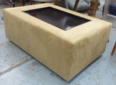 ALCANTARA STOOL, with an inset rectangular central wooden tray, 119cm W x 49cm H x 79cm D.