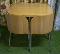 STOWAWAY DINING TABLE, light oak and chrome, 75cm H xd 84cm with four matching plywood and brown