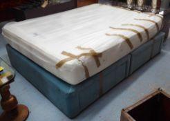 LOAF REGULAR SUPPORT MATTRESS ON VELVET UPHOLSTERED DIVAN BASES, 150cm W approx.