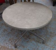 AFTER CHARLES AND RAY EAMES ALUMINIUM GROUP STYLE SIDE TABLE, 69.5cm diam x 47.5cm H.
