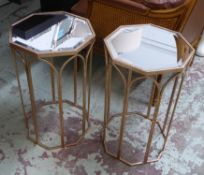 SIDE TABLES, a pair, 1960's French style, bevelled mirror tops, 60.5cm x 36cm D. (2)