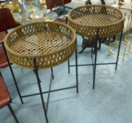 BAMBOO PLANT STANDS, a pair, black metal supports, 74cm x 56cm diam. (2)