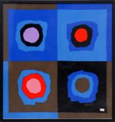 SONIA DELAUNAY 'Abstract', on silk scarf, Liberty, 85cm x 80cm, framed and glazed.