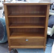 BOOKCASE, contemporary design three shelves with cabinet at base, 104cm x 39cm x 136cm.