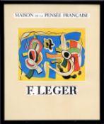 FERNAND LEGER 'Maison de la Pensée Française', lithographic poster, 60cm x 50cm, framed and glazed.