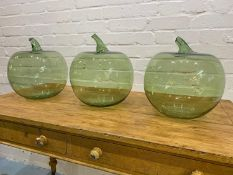 OVERSIZED GLASS APPLES, a set of three, Murano style hand blown glass, approx 35cm H x 29cm. (3)